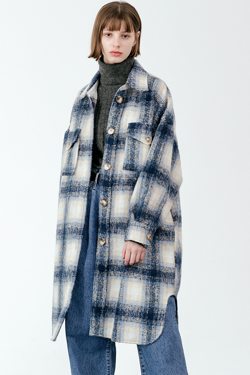 LV Overfit wool check coat_blue