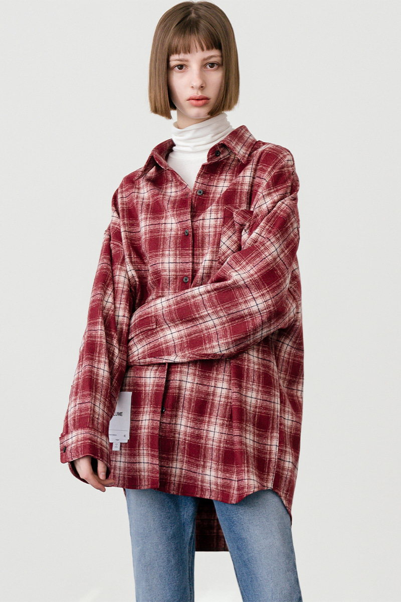 LV [남/여] Overfit vintage check shirt 2_red