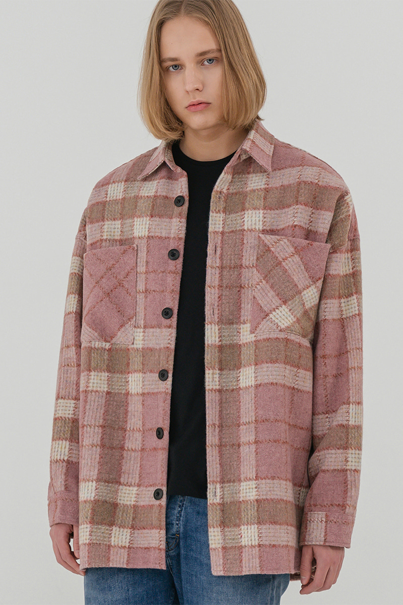 V2 Overfit wool check shirt jacket_pink