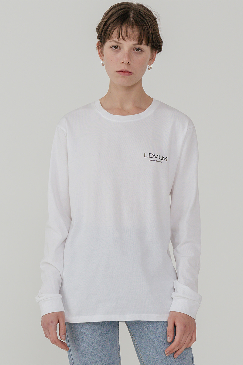 LV Ladyvolume logo long sleeve T-shirt_white