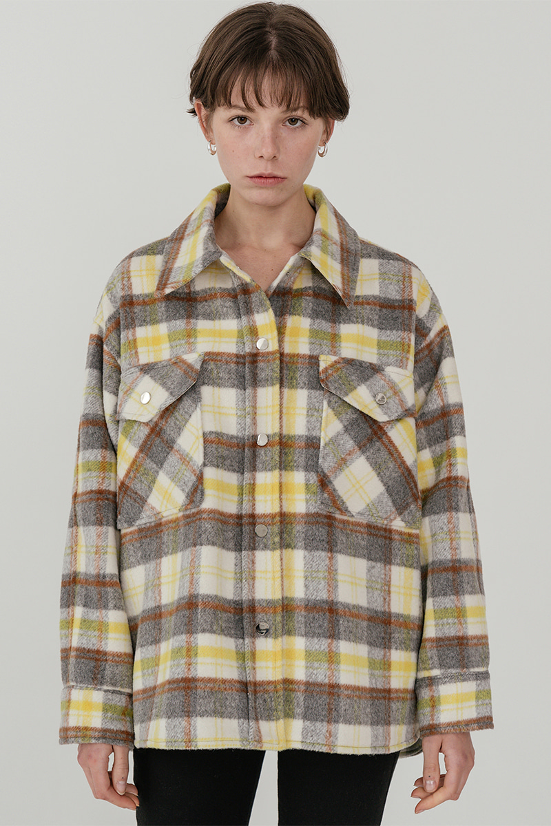 LV Overfit wool check trucker jacket_yellow