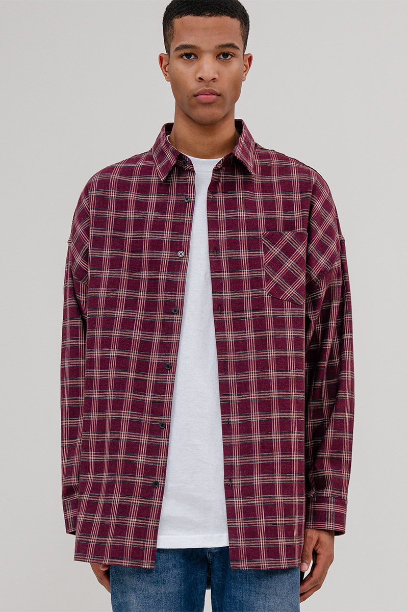 V2 Overfit stick out check shirt_red
