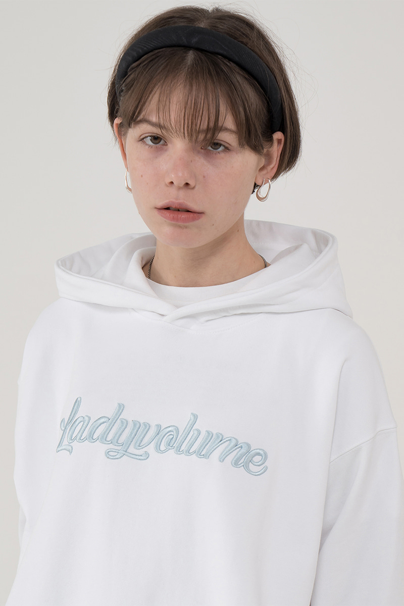Overfit color logo hood t-shirt_white