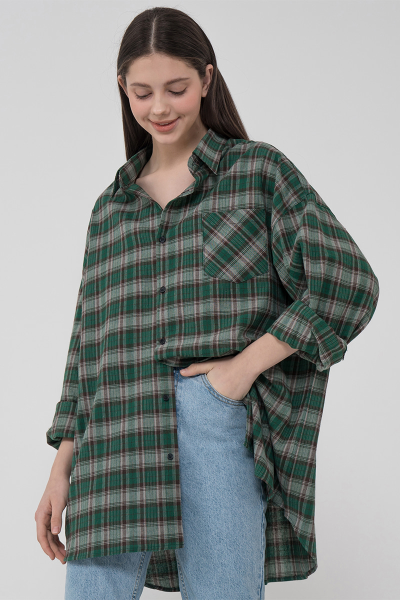 Overfit #check shirt_green