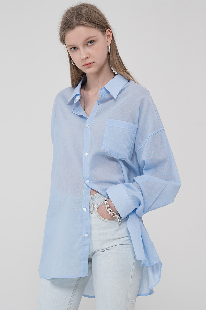 Overfit pastel linen color shirt_blue