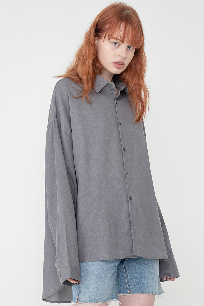 Overfit pigment washing shirt_gray
