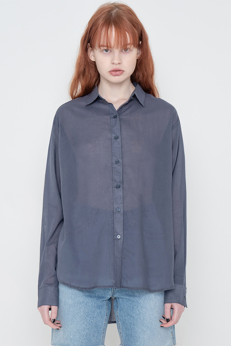 Short gauze shirt_navy