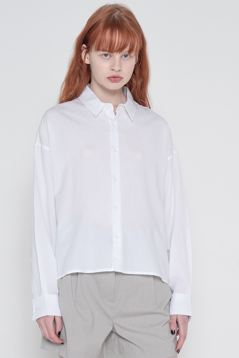 Pigment short unbalance shirt_white