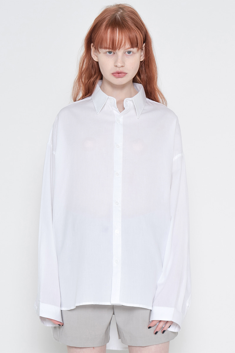 Overfit pigment washing shirt_white