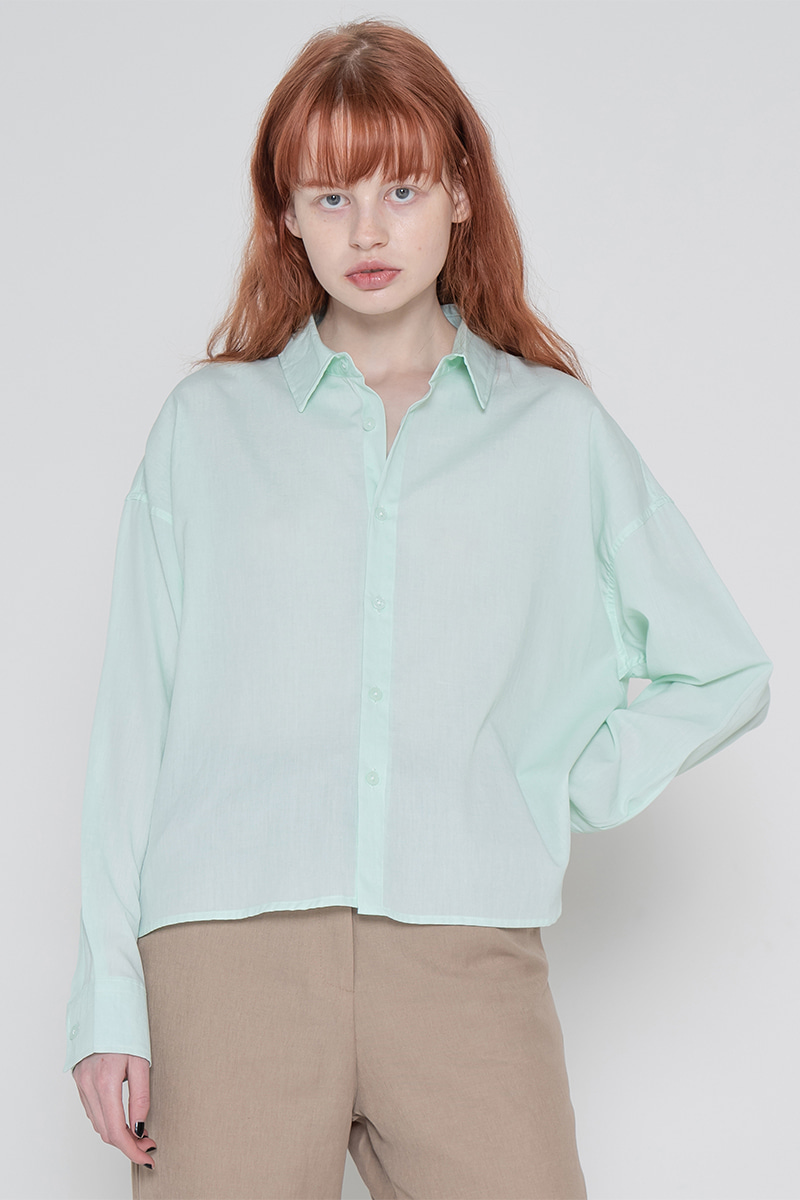 Pigment short unbalance shirt_mint