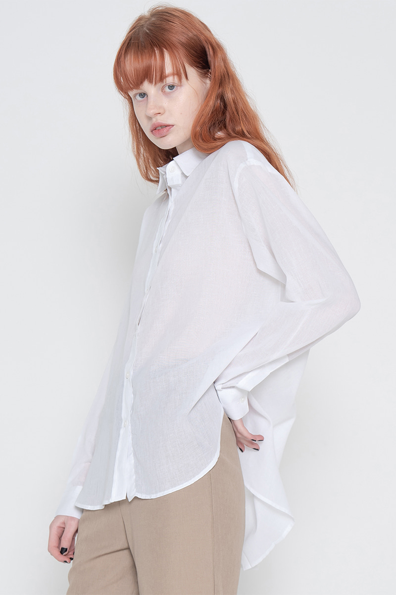 Short gauze shirt_white