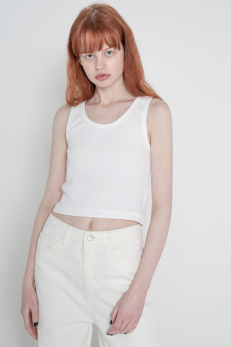 V neck golgi sleeveless_white