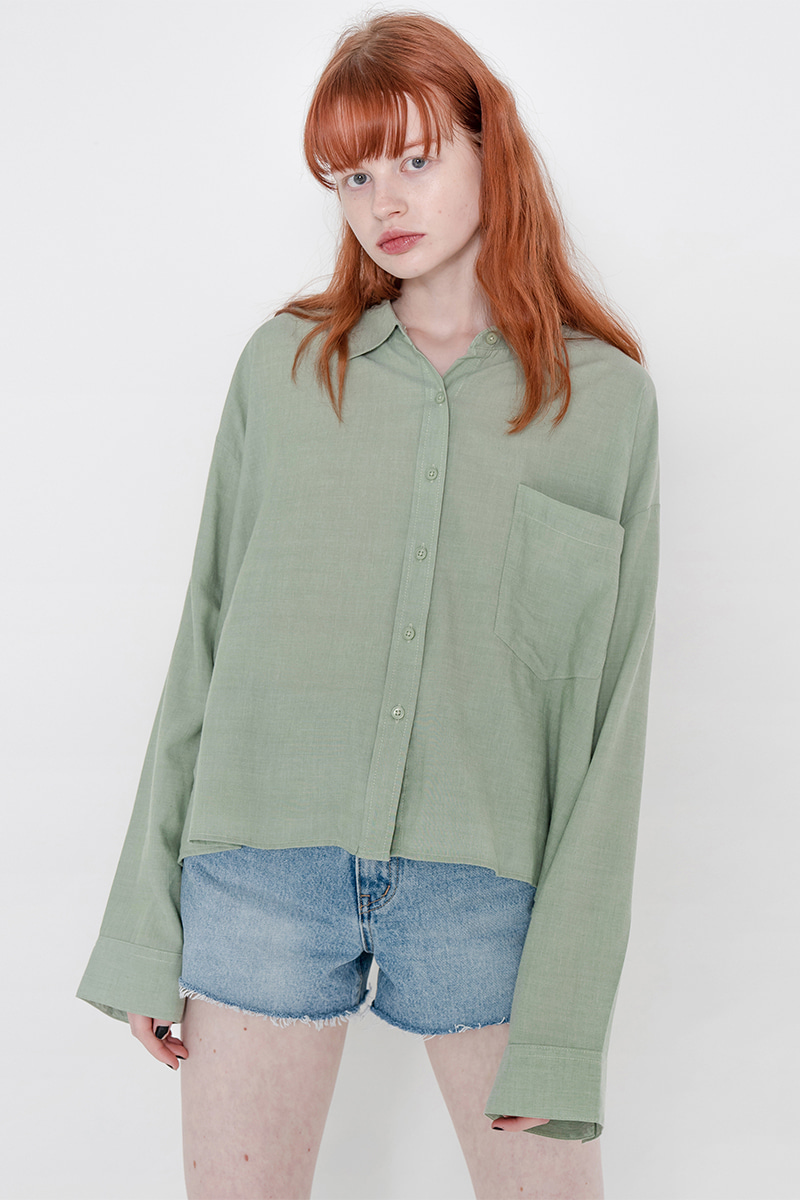 Side unbalance shirt_green
