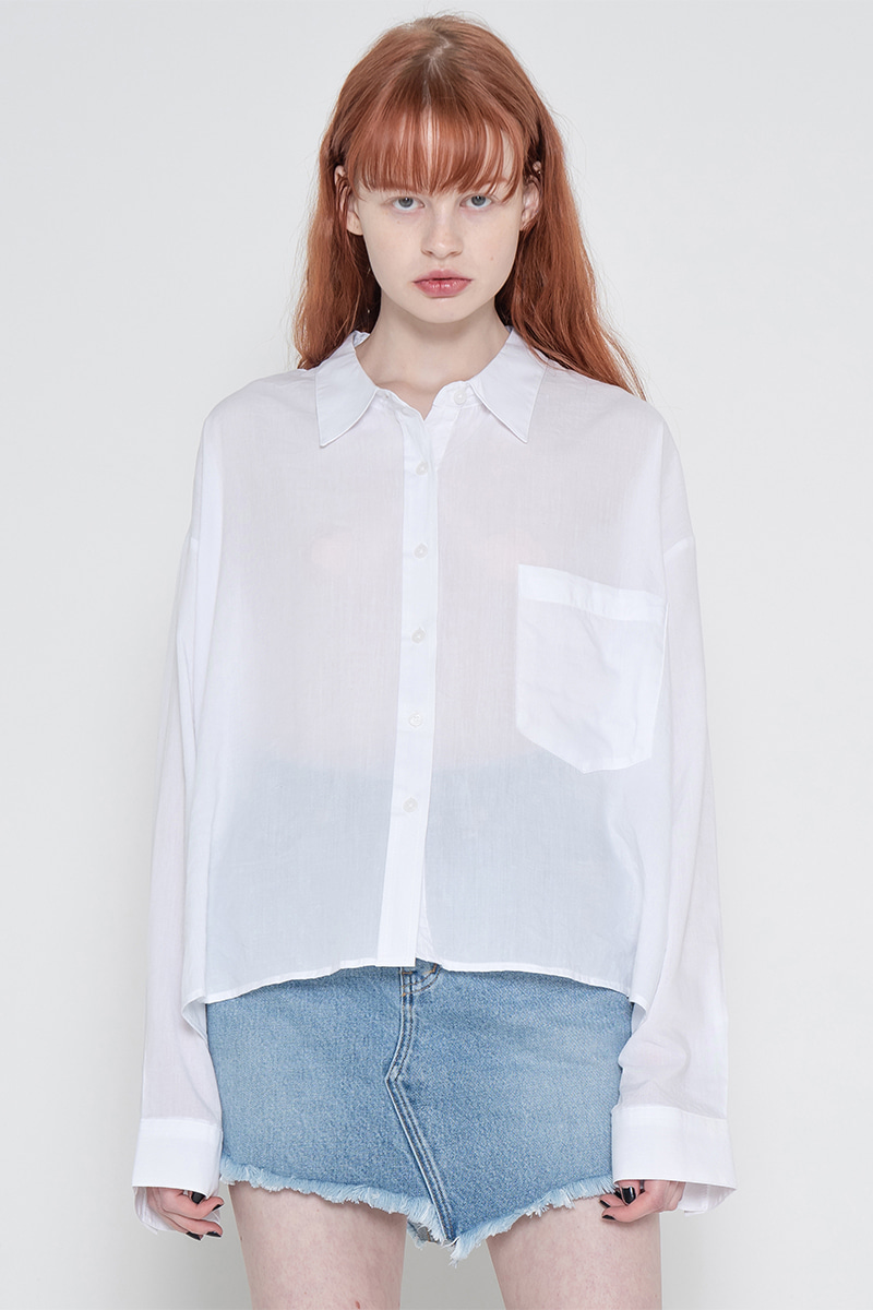 Side unbalance shirt_white