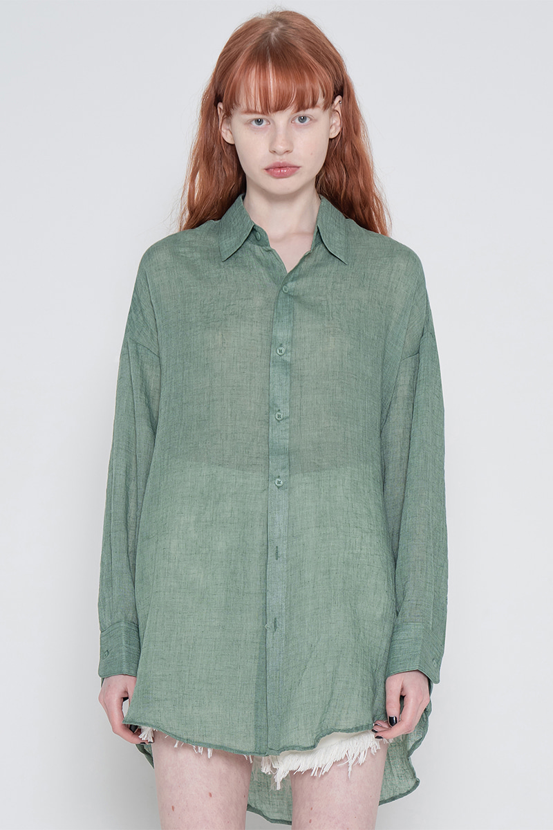 Long natural shirt_green