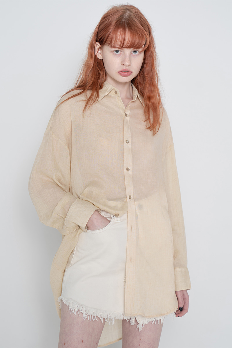 Long natural shirt_beige