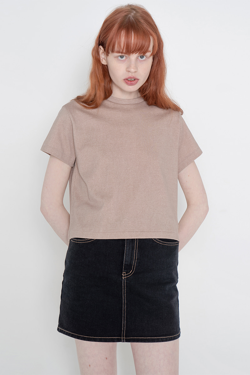 Pig crop T-shirt_beige