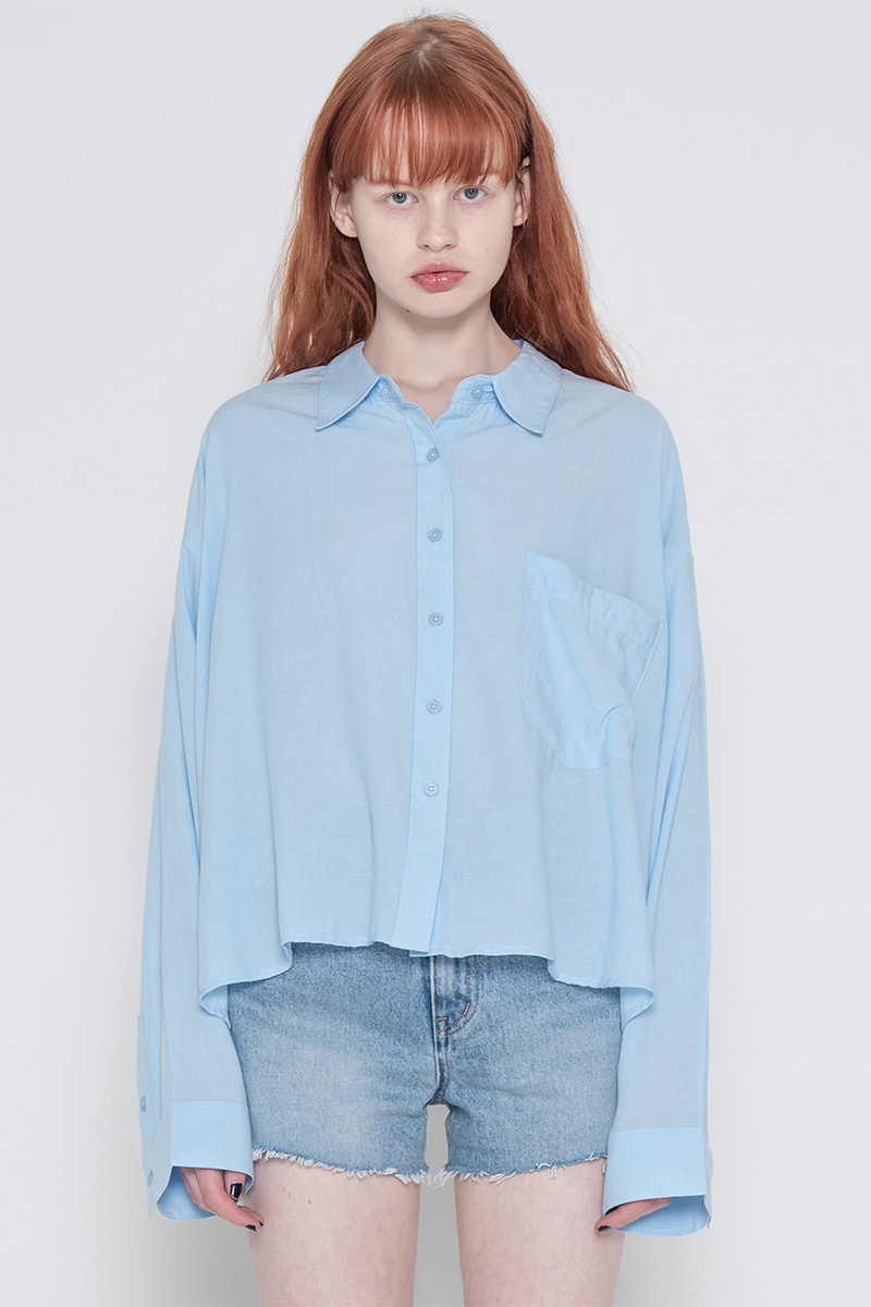 Side unbalance shirt_blue