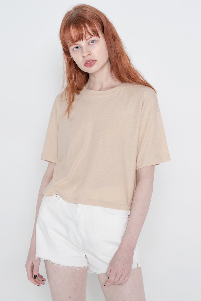 Solid crop T-shirt_beige