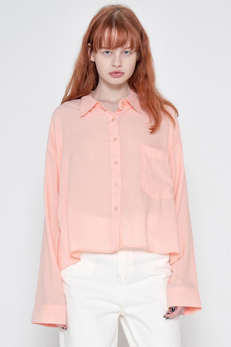 Side unbalance shirt_coral