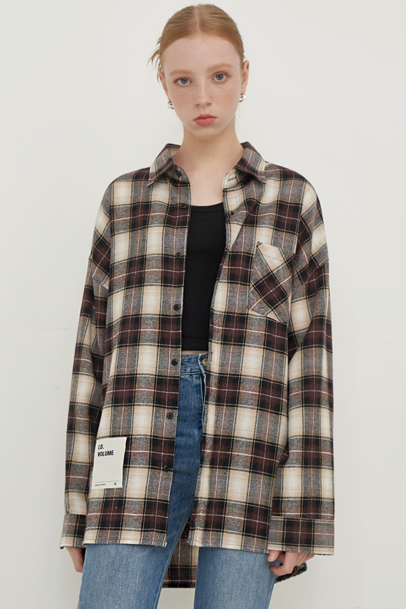 [UNISEX] OVERFIT SQUARE CHECK SHIRT_BROWN