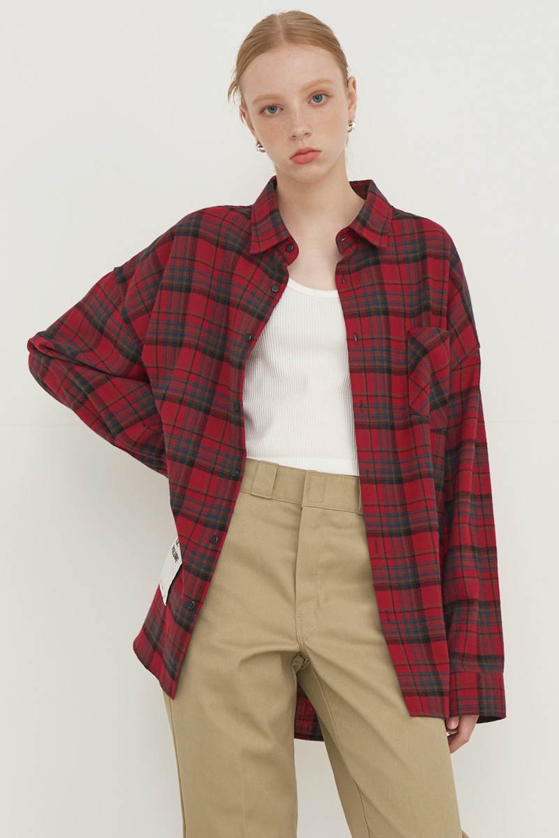 [UNISEX] OVERFIT BASIC PLAID SHIRT_RED