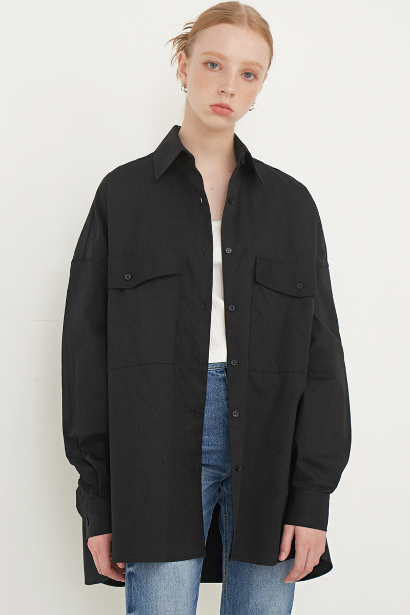 OVERFIT BIG POCKET BOXY SHIRT_BLACK