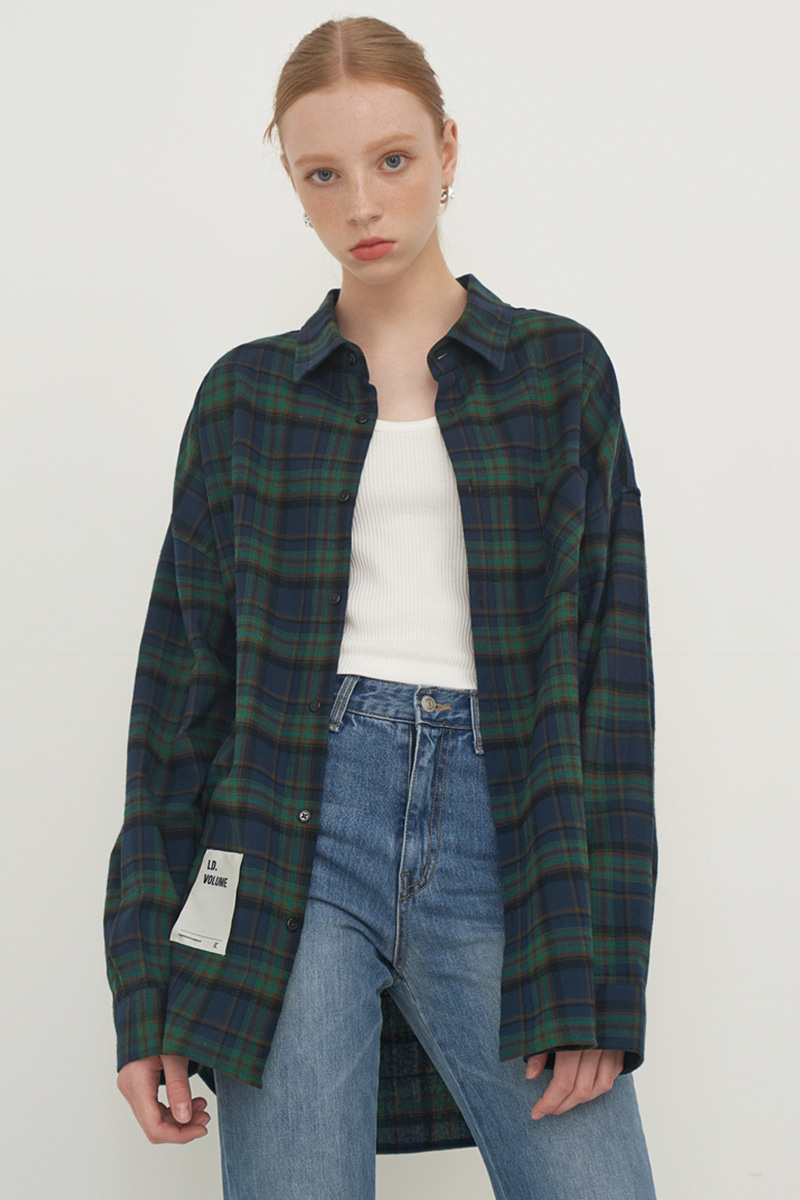 [UNISEX] OVERFIT BASIC PLAID SHIRT_GREEN