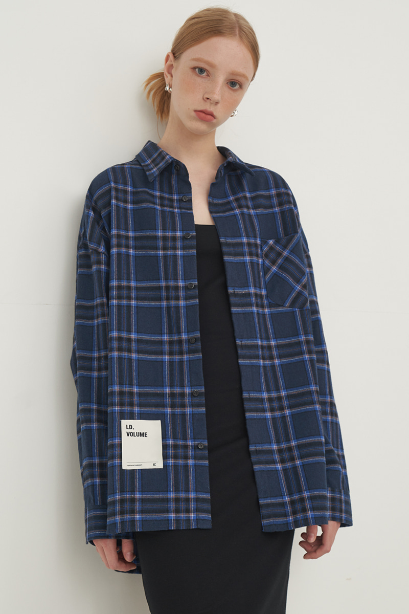 [UNISEX] OVERFIT REGULAR CHECK SHIRT_BLUE