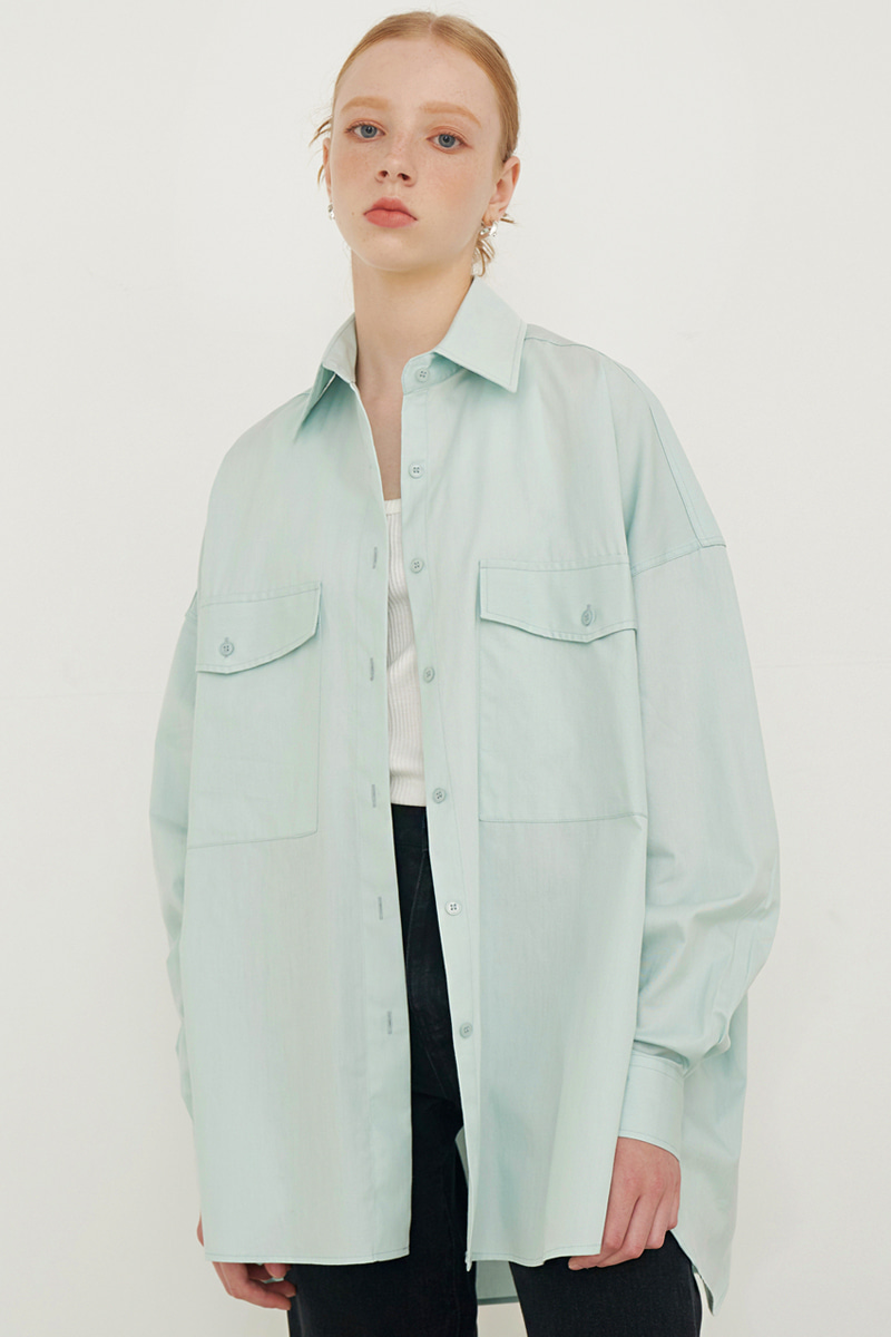 OVERFIT BIG POCKET BOXY SHIRT_MINT