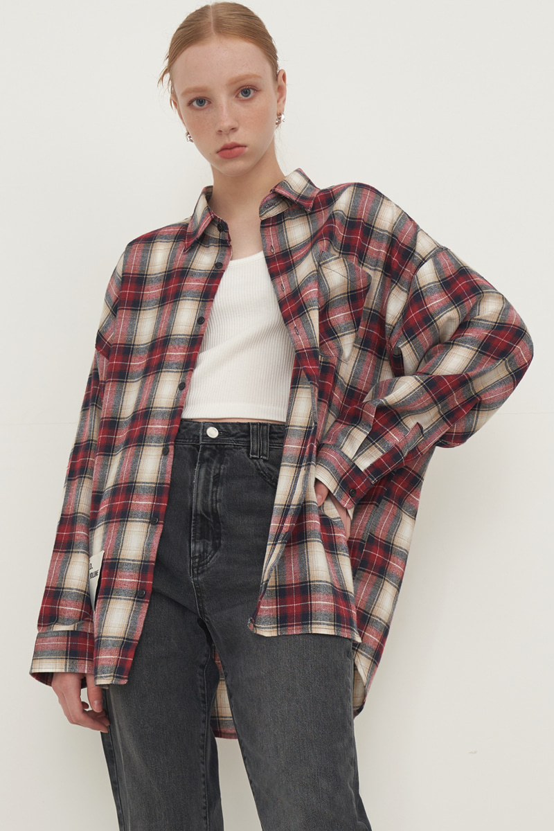 [UNISEX] OVERFIT SQUARE CHECK SHIRT_RED