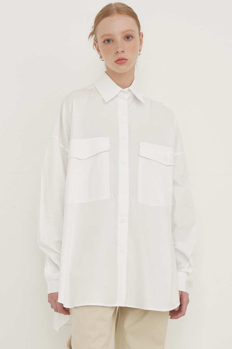 OVERFIT BIG POCKET BOXY SHIRT_IVORY