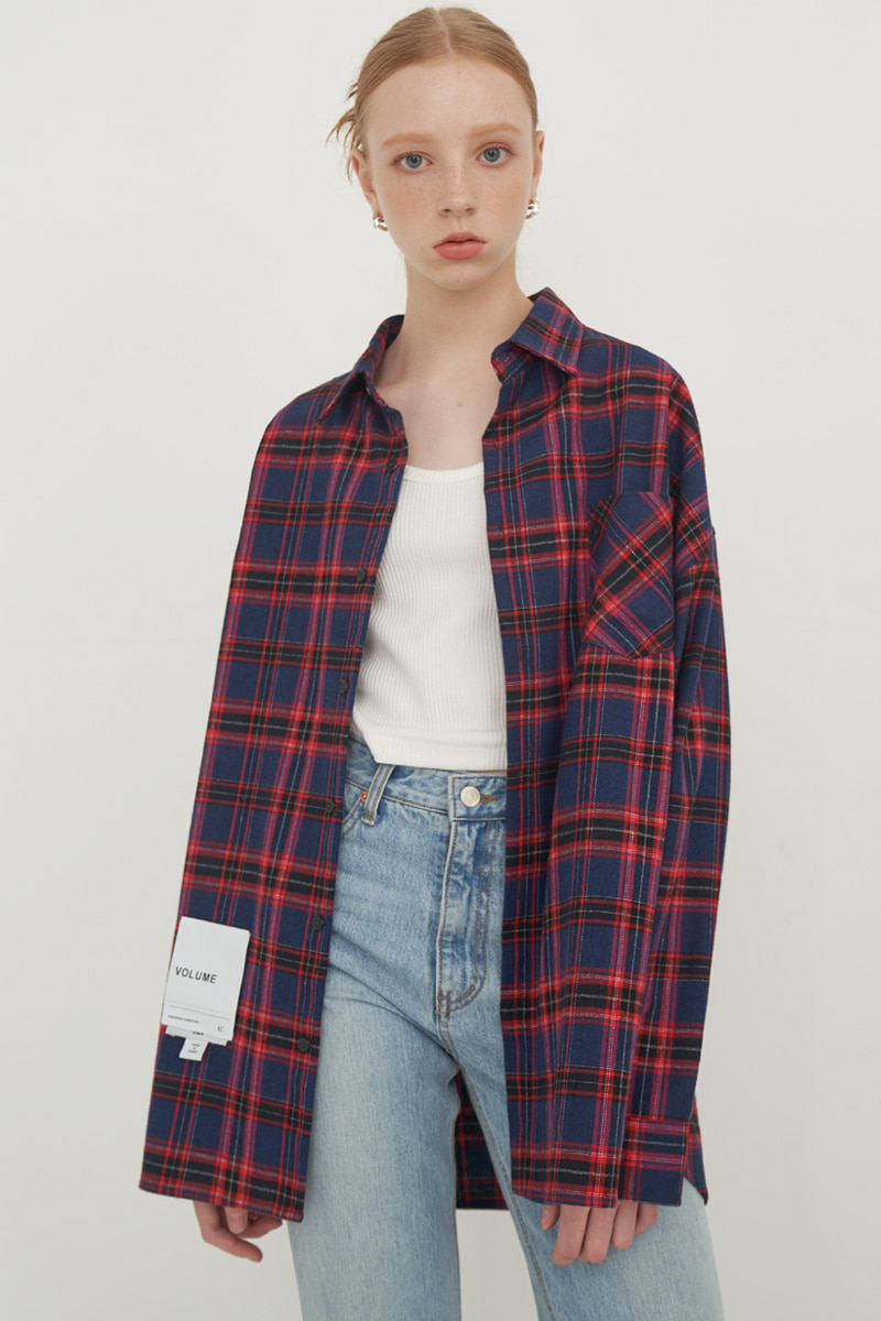 [남/여] OVERFIT VINTAGE CHECK SHIRT_RED