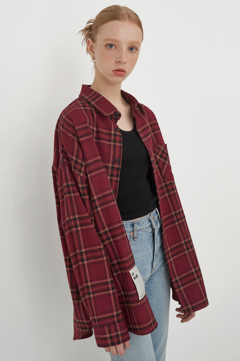 [UNISEX] OVERFIT REGULAR CHECK SHIRT_RED