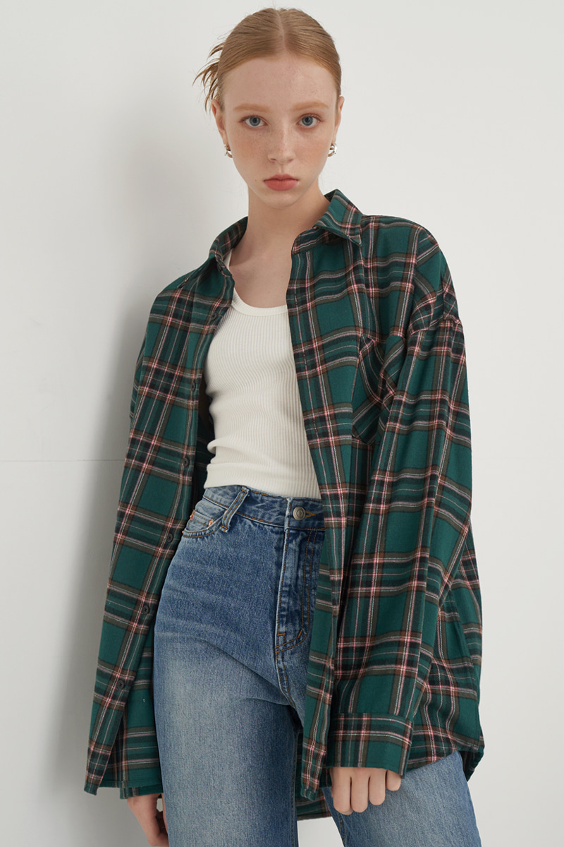 [UNISEX] OVERFIT REGULAR CHECK SHIRT_GREEN