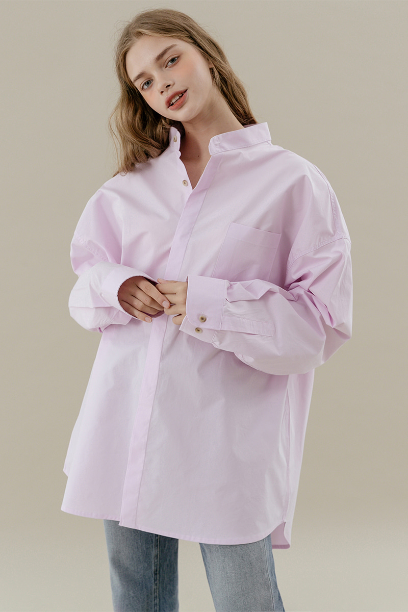 LV [남/여] Overfit china collar shirt_pink