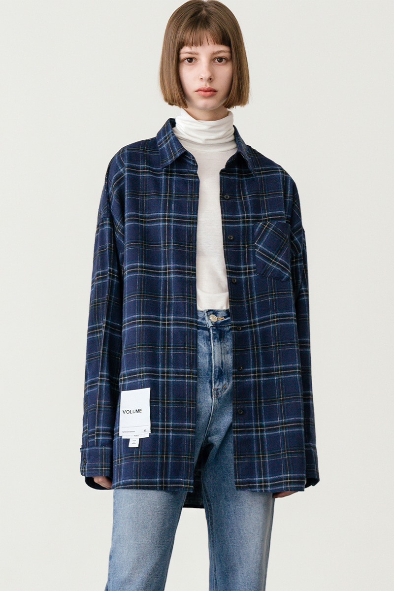 LV [남/여] Overfit vintage check shirt_navy