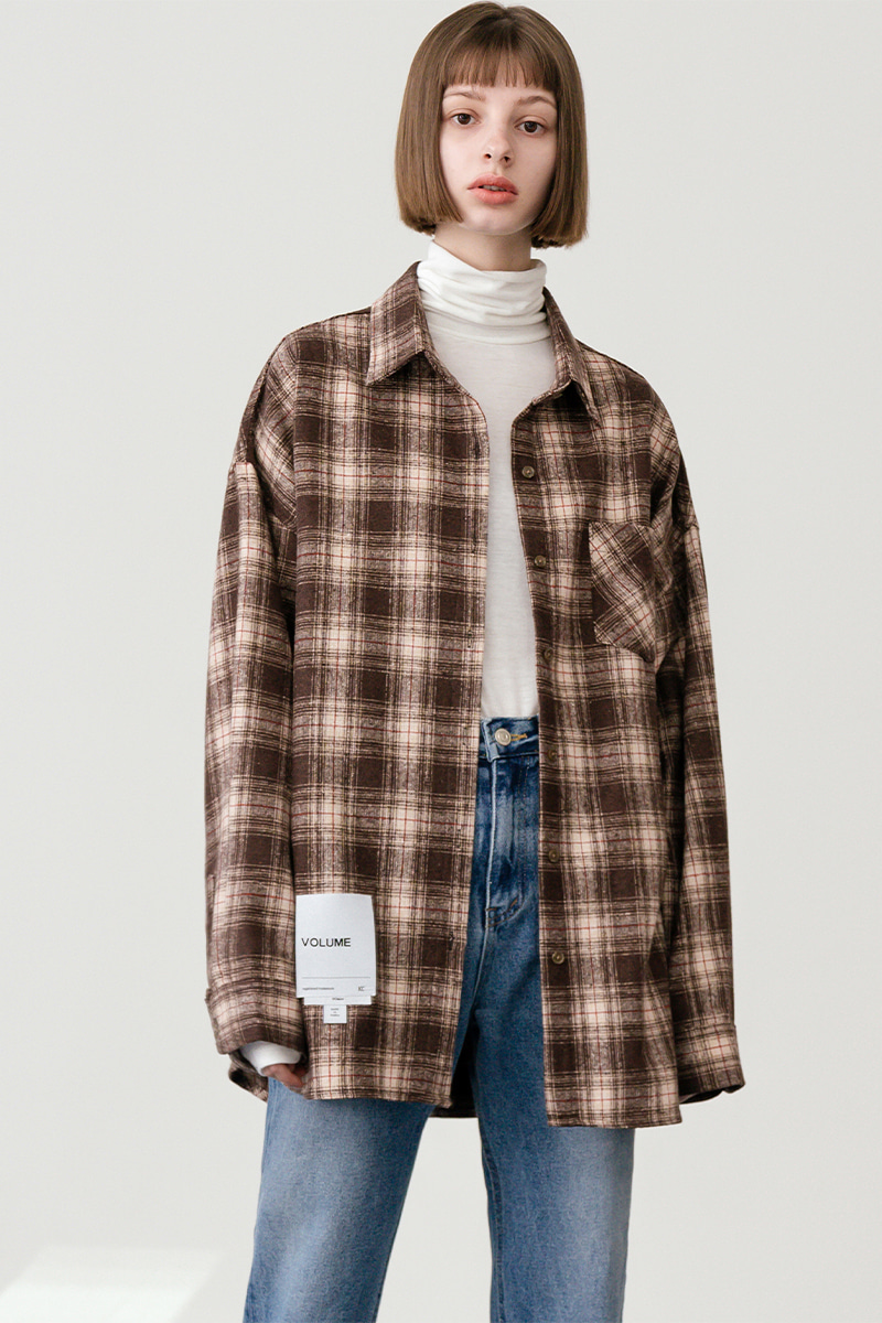 LV [남/여] Overfit vintage check shirt 2_brown