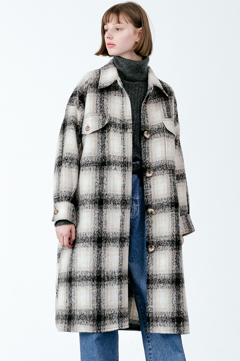LV Overfit wool check coat_black