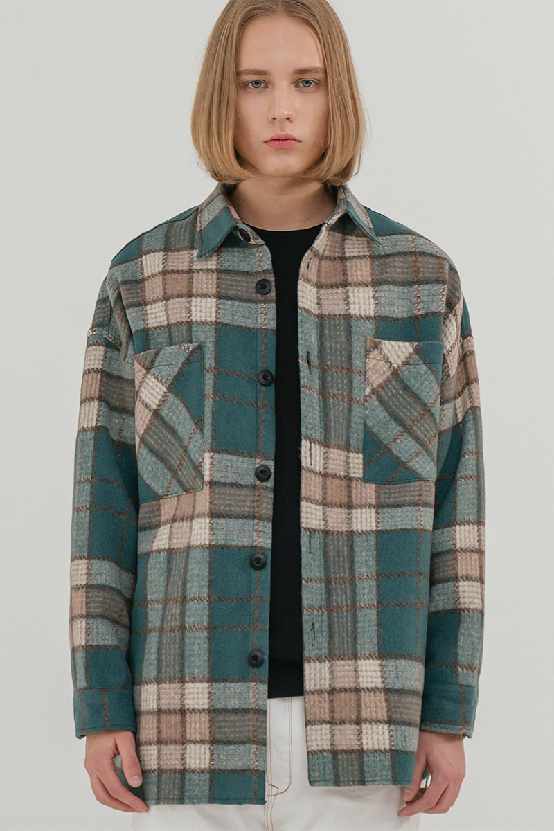 V2 Overfit wool check shirt jacket_green