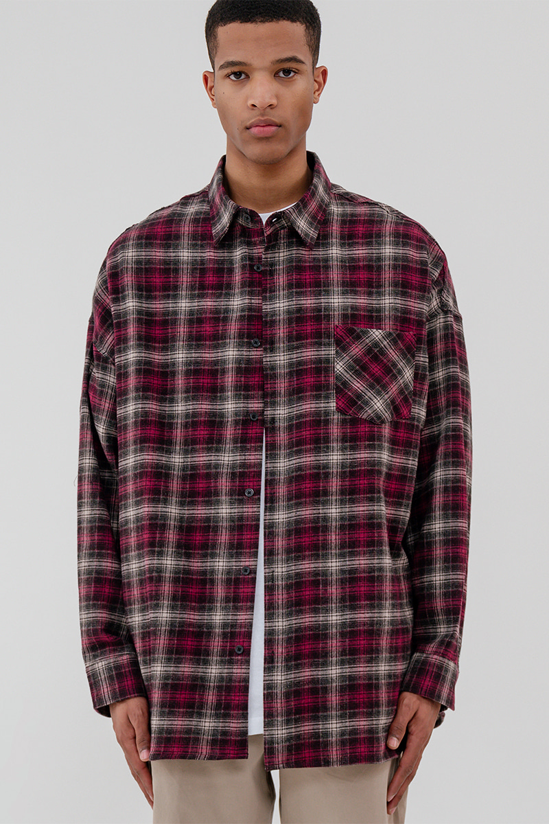 V2 Overfit much line check shirt_pink