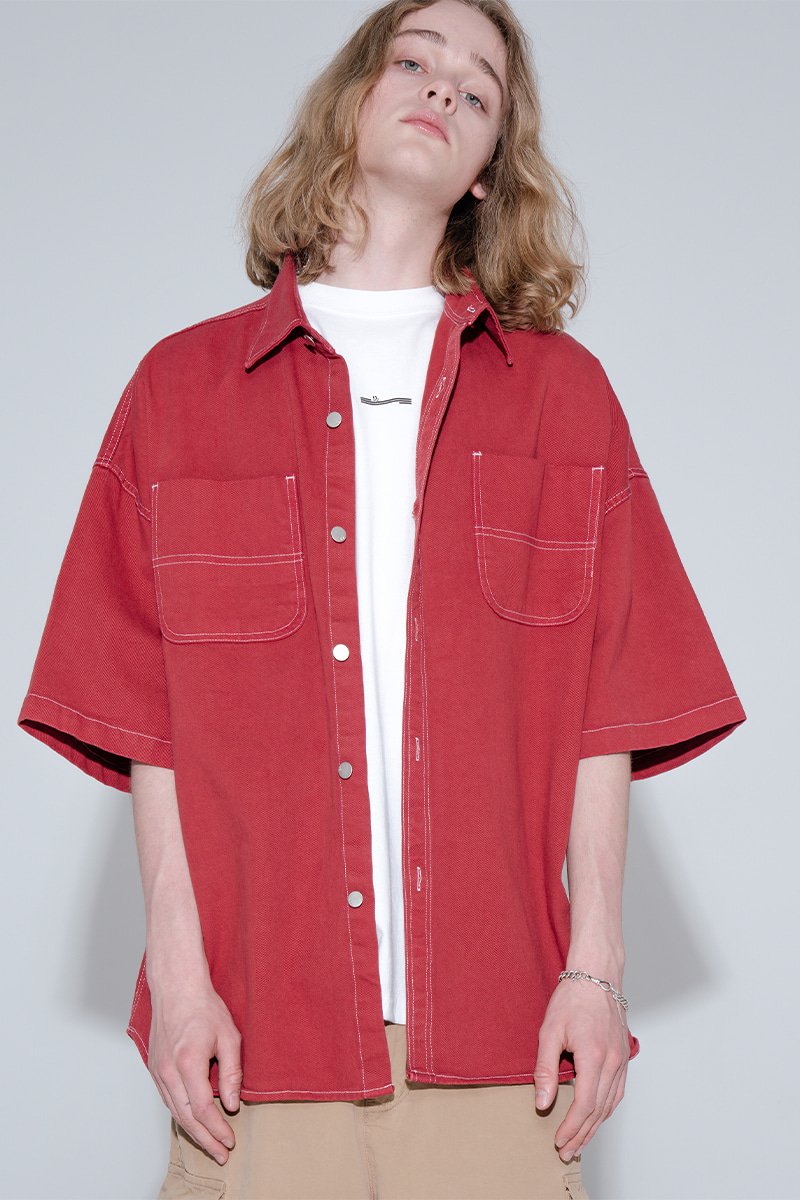 Overfit pigment half shirt jacket_red