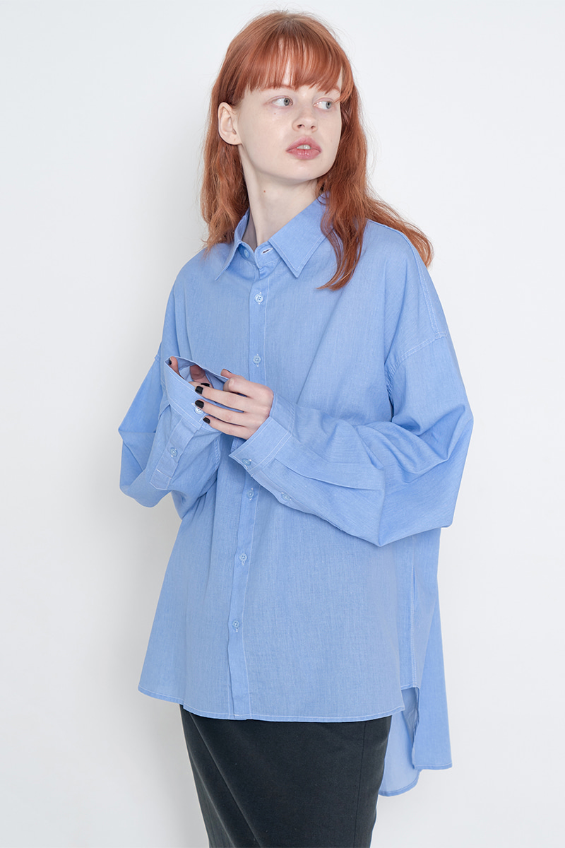 Overfit pigment washing shirt_blue