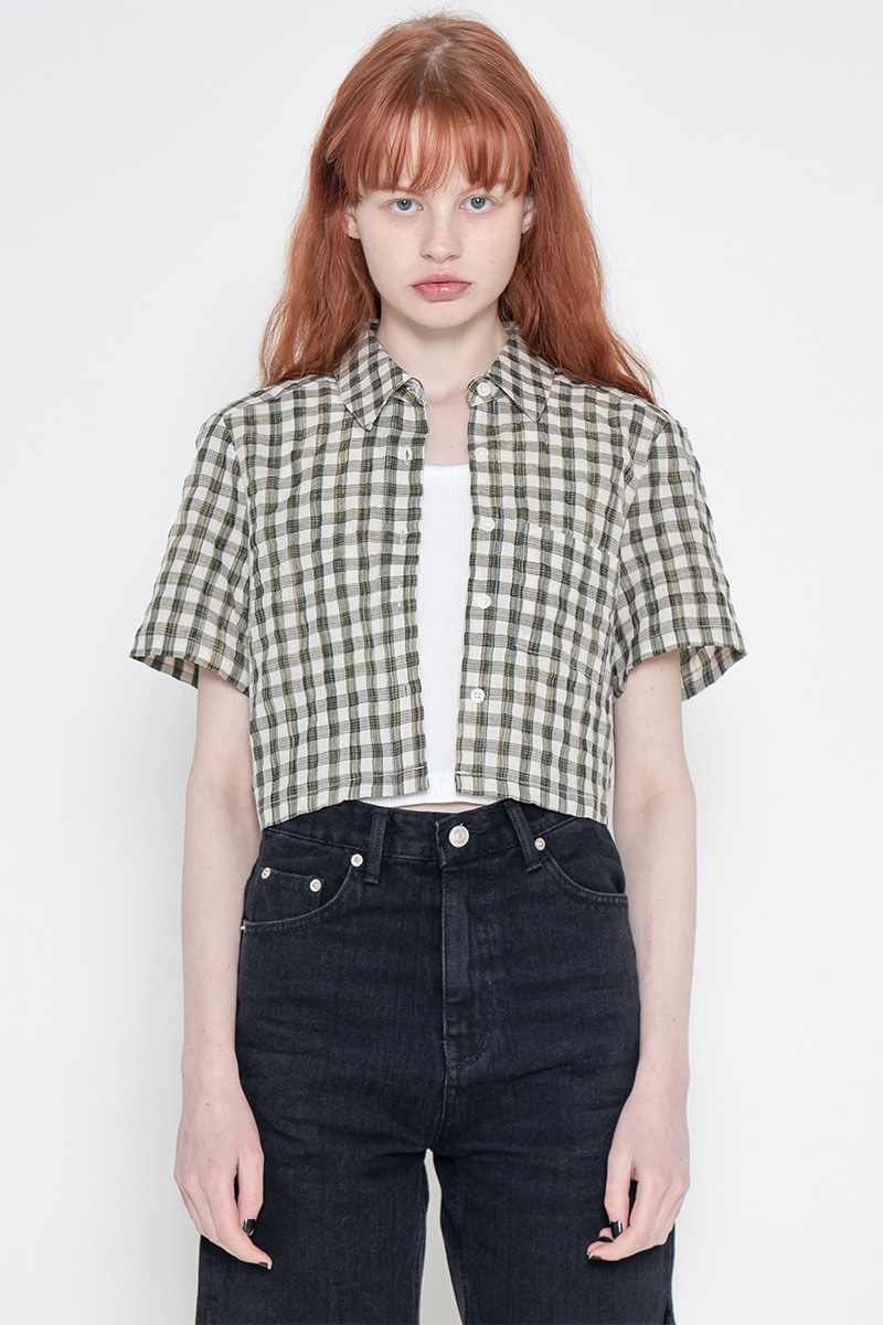 Short gingham check shirt_green