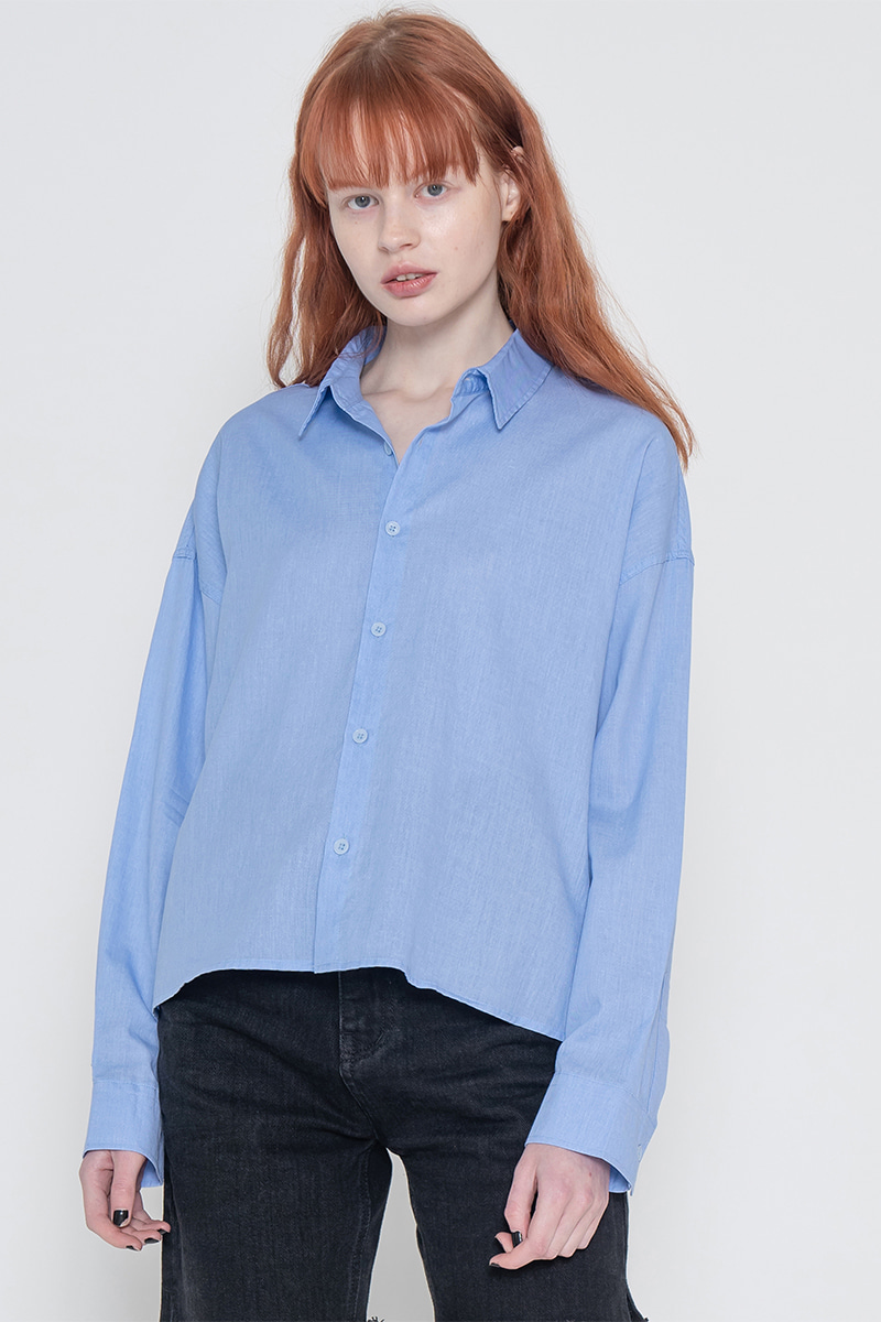 Pigment short unbalance shirt_blue