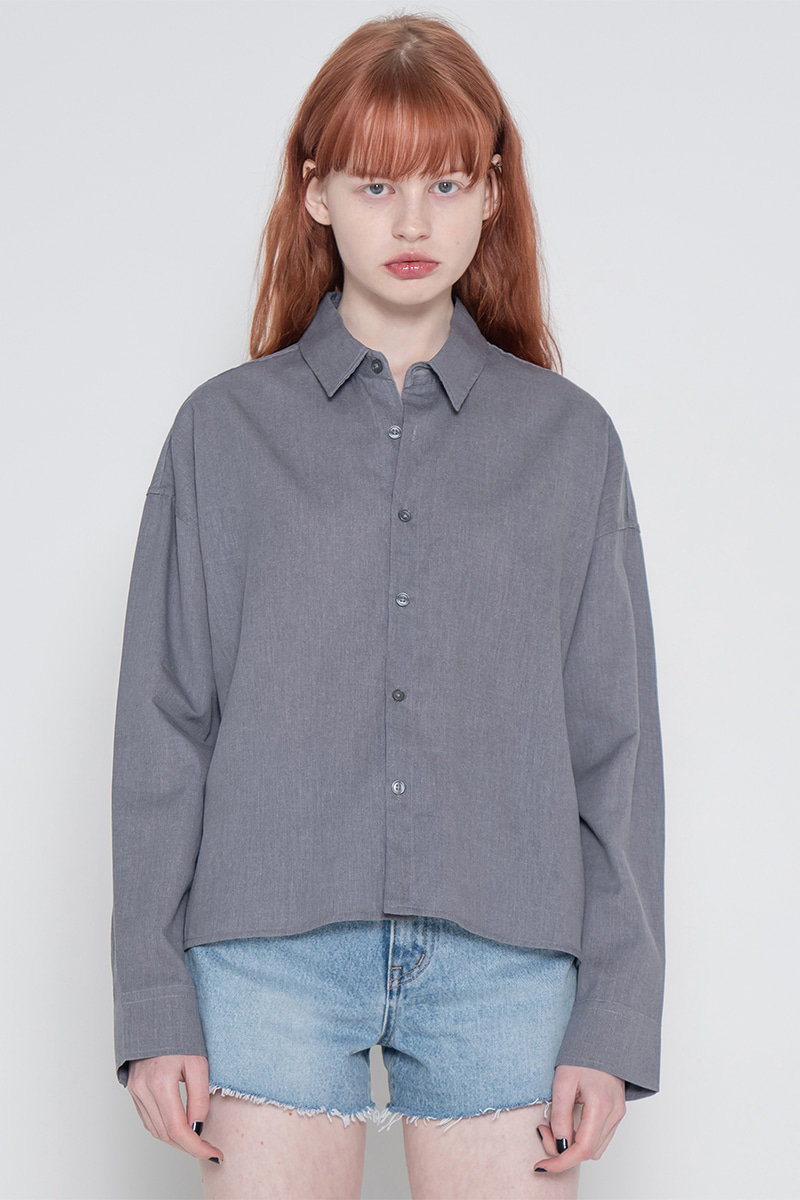 Pigment short unbalance shirt_charcoal