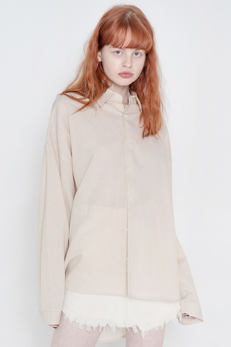 Overfit pigment washing shirt_beige