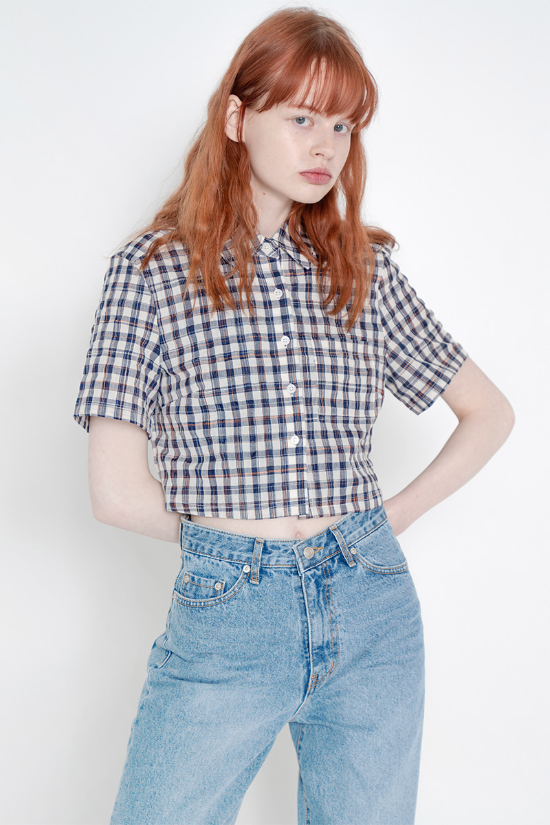 Short gingham check shirt_navy