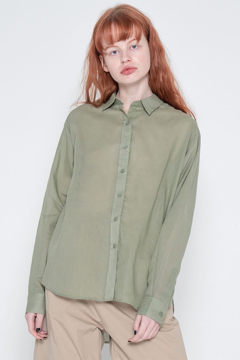 Short gauze shirt_green