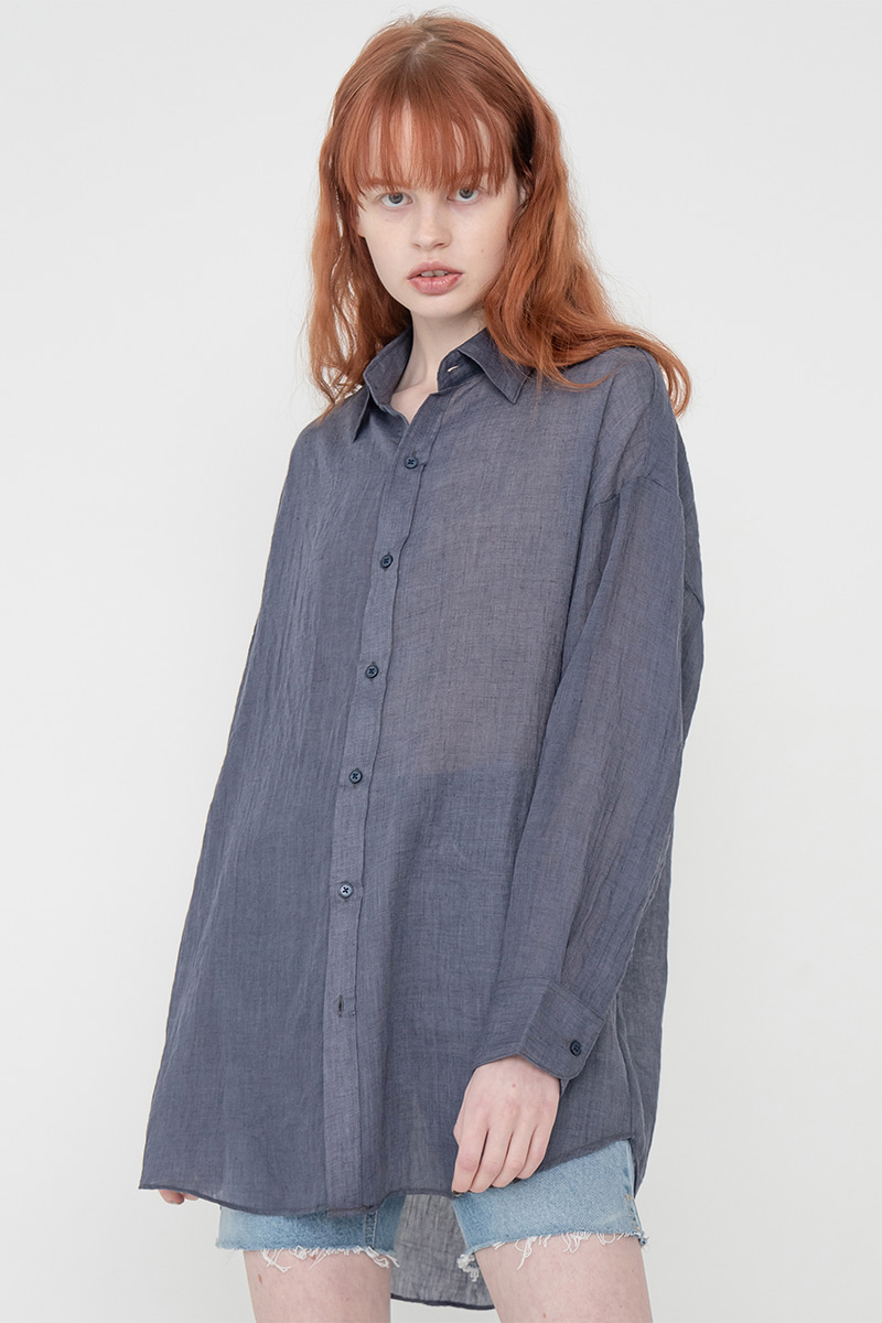 Long natural shirt_navy